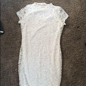 midi lace white dress